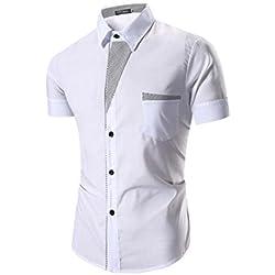 Tefamore Camisas de manga corta para hombre Ropa formal Casual De Fiesta (Tamaño:XL, Blanco)