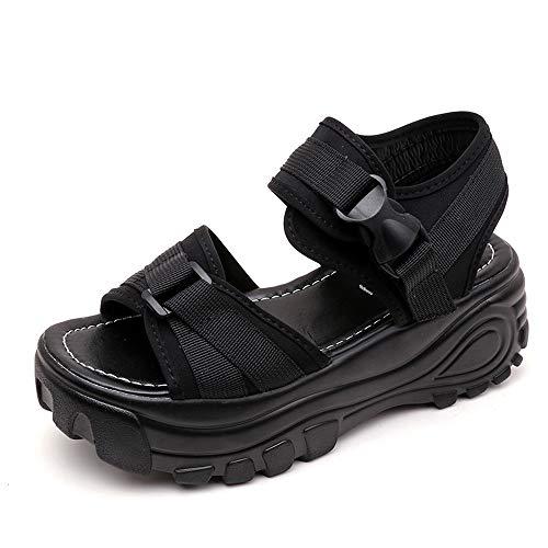 Fuibo Frauen Wandern Sandalen, Damen Mode Fischmaul dicke Plattform Wedges Müßiggänger Sandalen Schuhe Outdoor Sport Wasser Schuhe (37 EU, Schwarz)