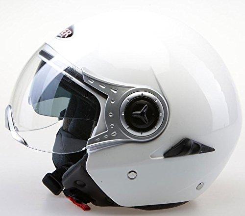 Casco del motociclo VIPER RS-Casco con visiera 18 aperti e rivestimento interno, colore: bianco S bianco