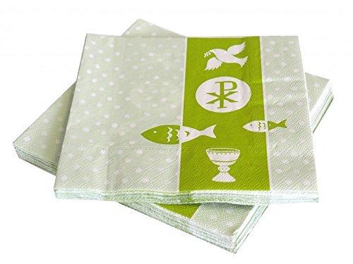 20 Servietten Symbole Grün Kommunion Konfirmation Tischdeko