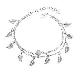 Aiuin ragazza moda piccolo foglia pendente doppia catena cavigliera donne caviglia braccialetto a piedi nudi sandalo…