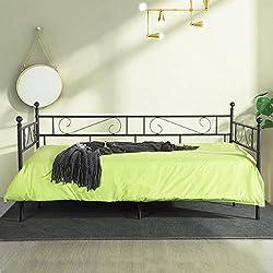 LiePu Lit Banquette Canapé Lit en Fer Forgé, Lit de Jour en Métal Lit Simple pour Enfant Adulte, 90 x 190cm, Noir