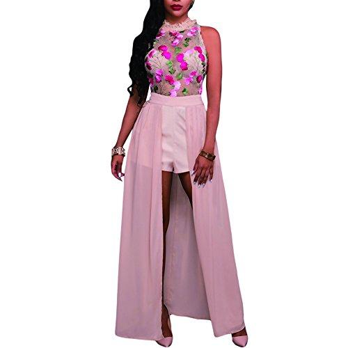 Synker Damen Ärmlos Mesh Blumen Stickerei Lange Abendkleid Cocktailkleid Maxi Kleid