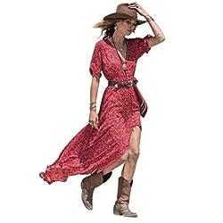 Yesmile Vestido de Mujer Falda Blanco Ropa Vestido Elegante de Noche Boda Boho Vestido Maxi Largo Floral de Gasa del Verano de las Mujeres (Rojo, L)