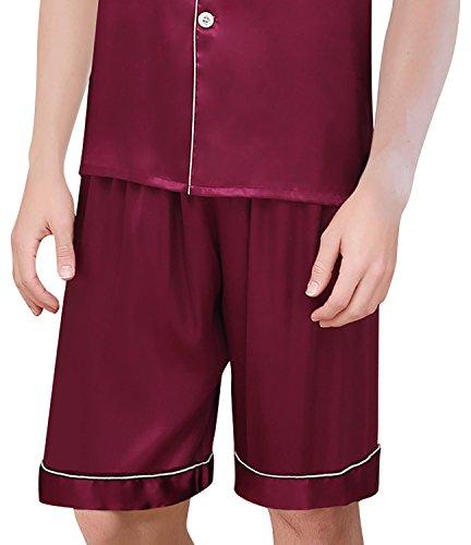 Dolamen Herren Schlafanzug, Satin Paare Kurz Zweiteiliger Pyjamas Frühling Sommer, Herren Schlafanzug mit Überprüfen Sie geknöpftes Hemd Kragen mit Tasche L XL XXL Rose