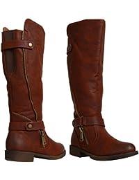 Manfield Botas de motero montar a caballo con textura Panel botas de equitación, hombre, marrón, Adult 03