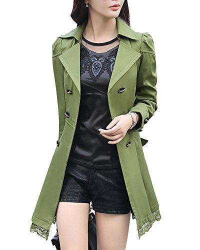 Damen Elegante Zweireihiger Gurt Taillen Spitze Rand Windbreaker Graben Mantel, Armee Grün, XL(Büste 94 CM) (Armee Graben)