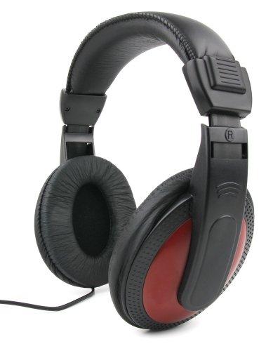 DURAGADGET Auriculares De Diadema para Teclado Yamaha PSR-F50 / PSR-E253 / Casio SA-78H5 SA-78 / SA-46H5 SA-46 / SA-77 - Negro Y Rojo - con Cable De 2 Metros Y Conexión Jack De 3.5mm