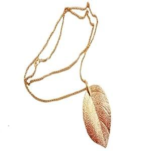 Fashion Goldige lange Chain Kette Blatt-Anhänger Charm lange Halskette