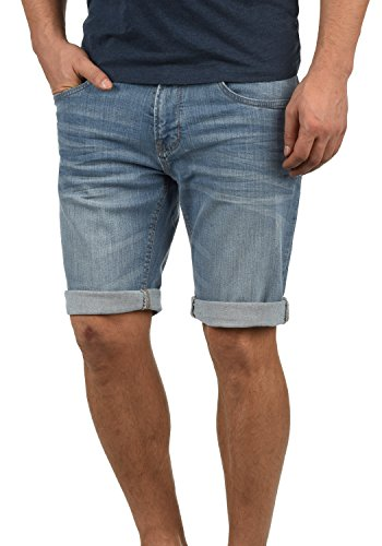 Indicode Quentin Herren Jeans Shorts Kurze Denim Hose Mit Destroyed-Optik Aus Stretch-Material Regular Fit, Größe:S, Farbe:Blue Wash (1014) Wash Denim Capris