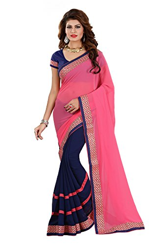 Vedant Vastram Women's Georgette Embroidered Saree With Blouse Piece (Pink & Blue...