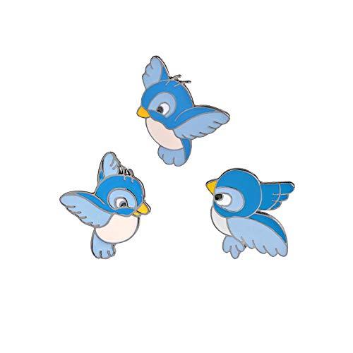 Nicetruc 3pcs / Set Mignon Oiseau Bleu Pin Cartoon oisillon Volant Broche Animal Veste en Jean Ardillon Shirt Badge Cadeau pour Les Enfants