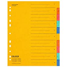 Falken Colorspan Cardboard dividers, (Extra-Wide) for DIN A4, 24 x 29.7 cm, Yellow 10 Pieces 10-teilig Yellow