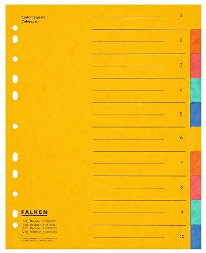Falken Das Original Premium Register überbreit aus extra starkem Colorspan-Karton für DIN A4 24 x 29,7 cm volle Höhe mit Organisationsdruck 10-teilig für die Ablage von Prospekthüllen