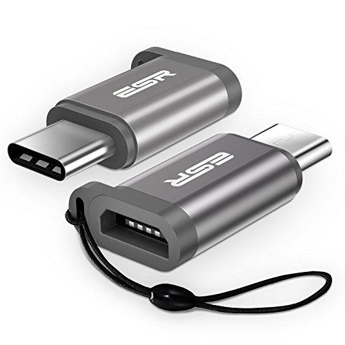 USB C Adapter auf Micro USB [2 Stück], ESR Premium Aluminium USB C to Micro USB Adapter mit Band, 56KΩ Widerstand, für Macbook, LG G5, G6, Galaxy S8, S8+, HTC U11, Pixel, Pixel XL und weitere - Grau