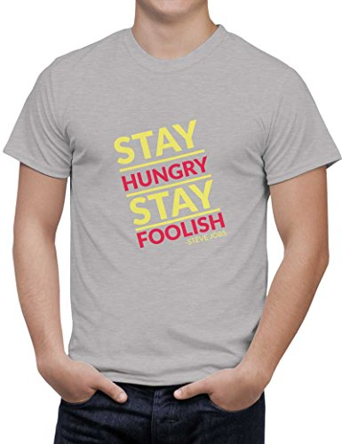 PosterGuy Men's Grey Cotton T-Shirt | stay hungry stay foolish steve jobs Designed by: Sawariya Creatives  available at amazon for Rs.699