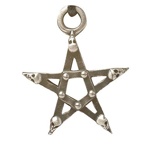 Zoelibat 97204641.112–Gothic Punk Colgante, Pentagrama con Calaveras, 2.5x 2.5cm