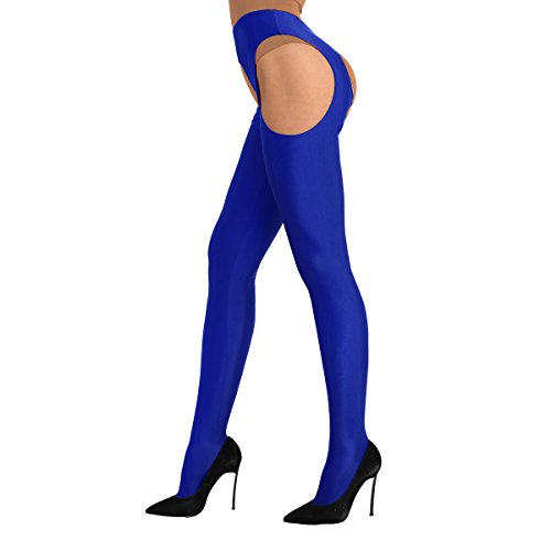 Alvivi Damen Ouvert-Strumpfhosen Stretch Ouvert-Legging Dessous-Pants Lange Hose Frau Strümpfhose Slim Smooth Hose Gr. S-XL Blau Large