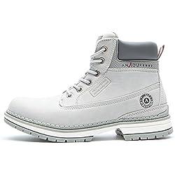 Botines Planos de Spring para Mujer - AnjouFemme Zapatos con Cordones para Mujer, Botas Impermeables Cómodas, la Mejor Elección para Caminar, Hacer Senderismo y para el Día a Día AMZ-TM1-GRAY2-38