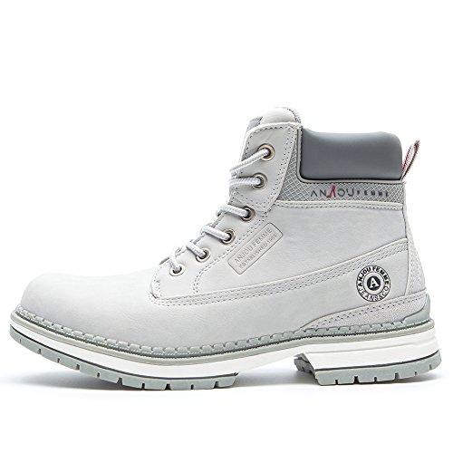 Primavera ecopelle antiscivolo stivali de donna - anjoufemme scarpe stivaletti trekking donna, adatto a tutte le stagioni, waterproof ankle boots for women amz-tm1-gray2-38