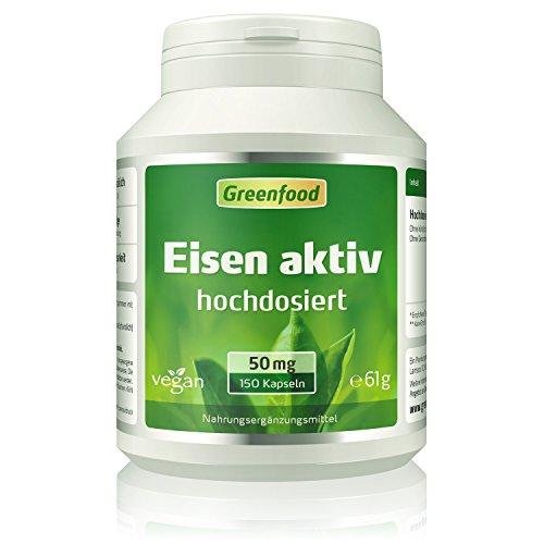 Greenfood Eisen aktiv, 50 mg, extra hochdosiert, 150 Kapseln, hohe Bioverfügbarkeit, hervorragende Verträglichkeit, vegan - wichtig für Blutbildung, - Titandioxid Eisen