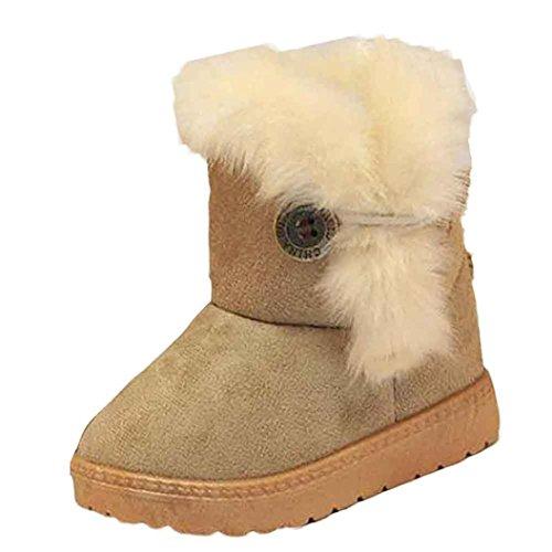 Tefamore Zapatos de antideslizante de sole suave de moda invierno de calentar para chicas (14CM(Edad: 24-28M), Caqui)