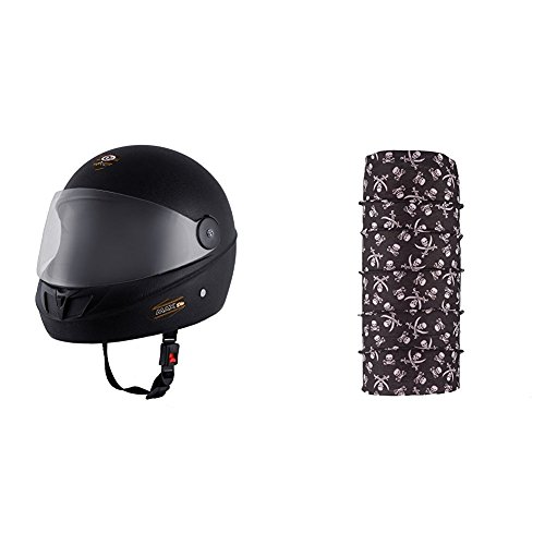 Autofy O2 Max DLX Full Face Helmet With Scratch Resistant Visor (Matte Black,M) and Autofy Pirate Skull Print Lycra Headwrap Bandana for Bikes (Black and White, Free Size) Bundle