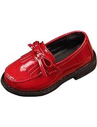ZODOF Niños Niños Niñas Bowknot Borla de Cuero Formal Zapatos de Boda del Partido Vintage Calzado Ligero y Transpirables para Unisex Niños