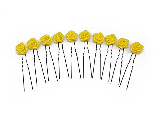10 épingles à cheveux ornées de roses - accessoire pour coiffure plate/de mariée - Épingle à cheveux noire - jaune