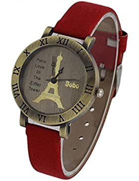 Freizeit Quarzuhr Frauen Love Letters Armbanduhr Eiffelturm in Paris Style Armbanduhr Rot