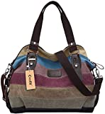 Coofit Multi-Color-Striped Canvas Damen Handtasche / Umhängetasche Canvas Tasche Shopper Hobo Bag (Textilien)