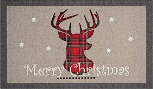 Bavaria Home Collection Deko Motiv Fußmatte Weihnachten Winter Merry Christmas Hirsch l rechteckig, Größe 45 x 75 cm, rutschhemmend beschichtet