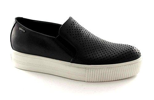 IGI&Co 57980 Schwarz Sneaker Schuhe Elastischen Beleg auf Plattform Perforierte Leder 41 (Perforierte Leder-plattform)