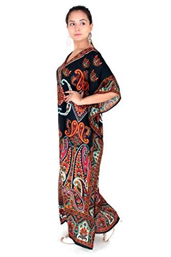 Miss Lavish - Robe - Kimono - Manches Longues - Femme multicolore Multicoloured Noir