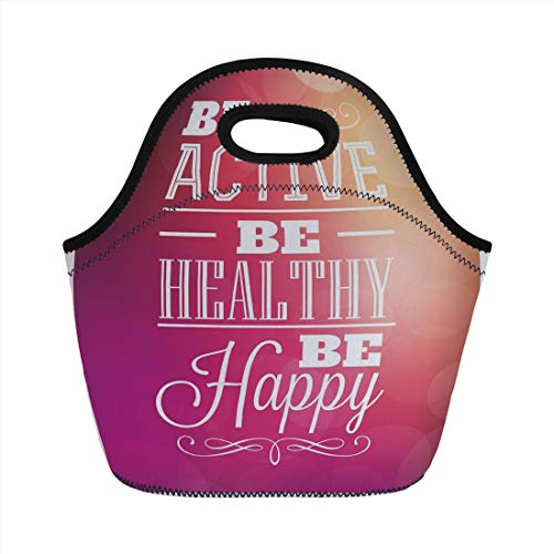 Jieaiuoo Portable Lunch Bag,Fitness,Typographic Design with Be Active Be Healthy Be Happy Motivational Quote Decorative,Fuchsia White Peach,for Kids Adult Thermal Insulated Tote Bags