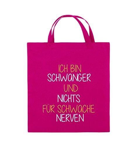 Comedy Bags - Ich bin Schwanger und nichts für schwache Nerven. - Jutebeutel - kurze Henkel - 38x42cm - Farbe: Schwarz / Weiss-Neongrün Pink / Gelb-Weiss