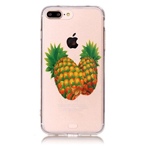 SainCat Coque Housse pour Apple iPhone 7 Plus,Transparent Coque Silicone Etui Housse,iPhone 7 Plus Silicone Case Soft Gel Cover Anti-Scratch Transparent Case TPU Cover,Fonction Support Protection Comp Ananas