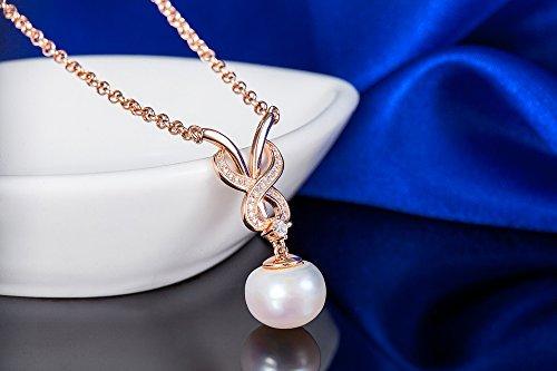 Or Rose/argenté Couleur Argent Sterling 92511mm Imitation Perle Double S entrecroisés avec motif gouttelettes zircone cubique incrustation-Collier Femme-Pendentif Chaîne 45,7cm Jewelry blanc