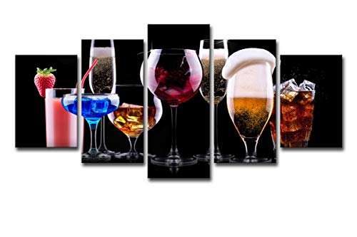 5 Stück Cocktail (HDWALLART Große Leinwand Bild Drucke Leinwandbilder Wandkunst Hd Drucke Poster 5 Stück Farbe Weingläser Cocktail Gemälde Getränke Restaurant Bar Decor Leinwand Wandkunst Für Home Walls Decor, L: 50X1)