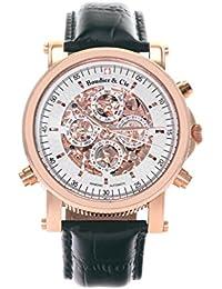 Automatik Armbanduhr von Boudier & Cie für Männer mit einem echten Diamanten mit Weißem Zifferblatt Analoger Anzeige und Schwarzem Armband aus Leder SK14H037