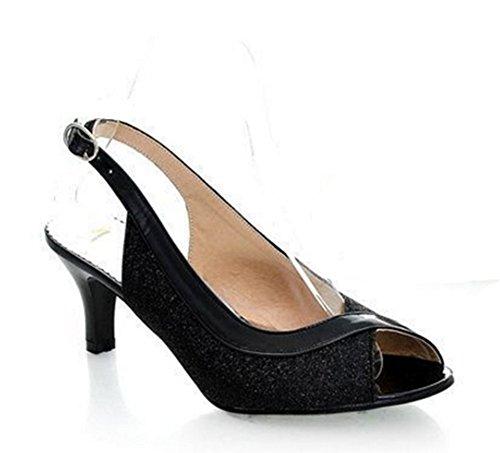 Wealsex damen sandalen Pumps Schwarz