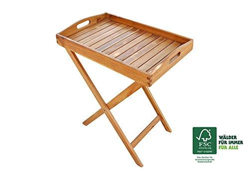 SAM® Mesa auxiliar plegable de madera de acacia, lijada en superficie, carrito auxiliar ideal para balcón, terraza y jardín, madera maciza, certificada FSC® 100%