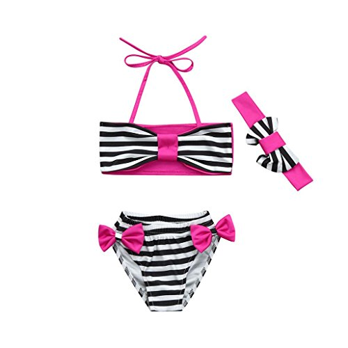 Baby Bademode,Binggong 3stk Infant Kinder Baby Bademode Gestreiften Bowknot Straps Bade Bikini Set Mädchen Performance Badeanzug Mädchen Günstige Strand Badeanzug (110CM, Pink)