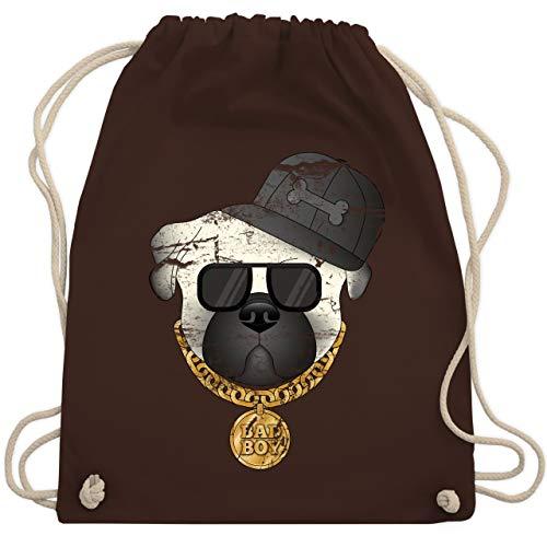 Hunde - Bad Boy Mops Vintage - Unisize - Braun - WM110 - Turnbeutel & Gym Bag