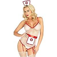 Dapei Enfermera Disfraces Tentación Uniforme Conjunto de lencería de enfermera Body entrepierna abierta S-XXXL