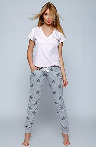 Sensis, pigiama in cotone/tuta per casa, T-shirt e comodi pantaloni Hellgrau mit Sternen
