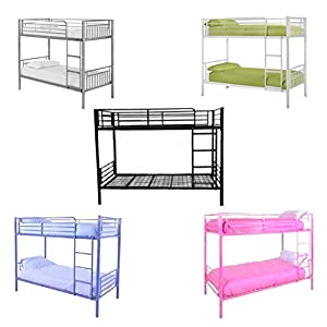Kids Bunk Bed Single Sleeper Metal Frame Childrens Bedroom Furniture 3ft