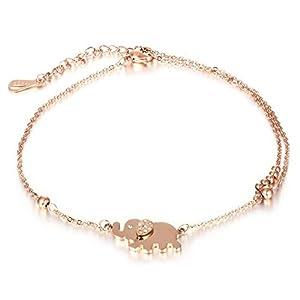 Bishilin Edelstahl Boho Damen Fußkette Elefanten Zirkonia Fuß Kette Rosegold Knöchelkette