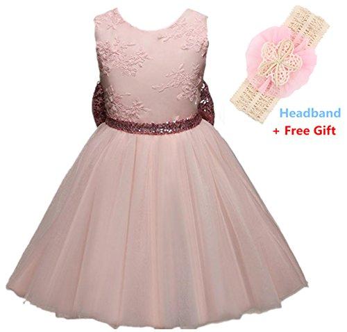 Robe de Baptême Bébé Fille, Morbuy Girls Bowknot Lace Princess Skirt Summer Sequins Robes pour bébé (80, Rose)