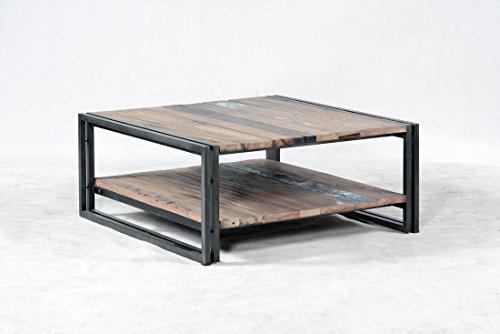 Table Basse 2 Plateaux Square 100X100X35 Style Industriel en Bois de Bateau recyclé.